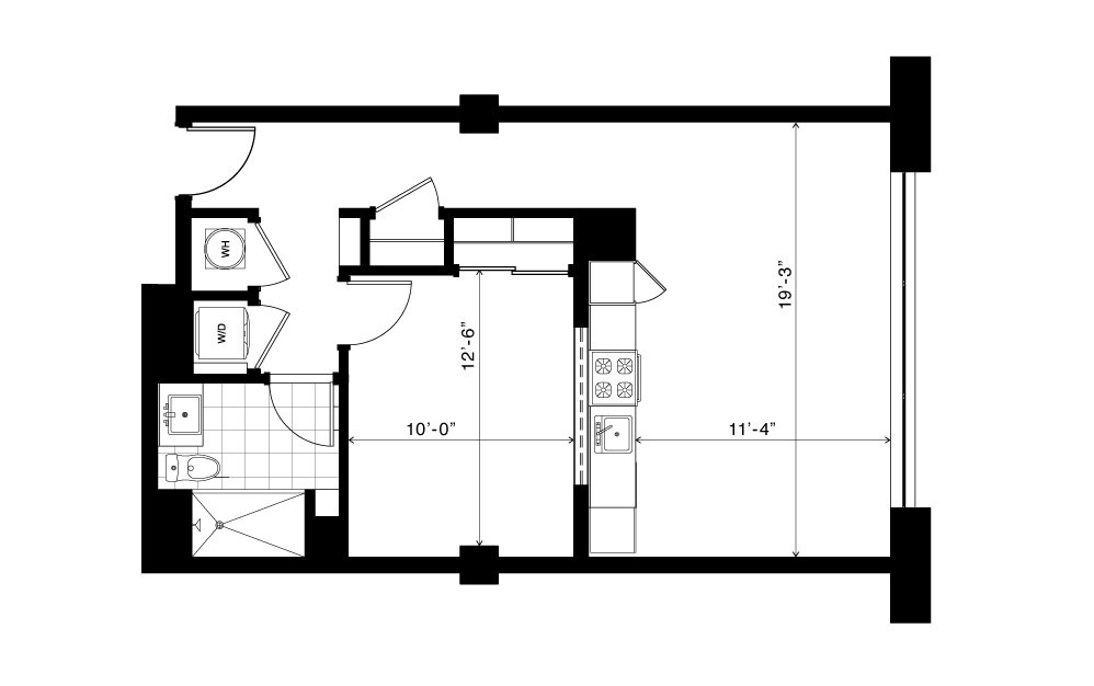 The Ponce - 1 bedroom floorplan layout with 1 bath and 655 square feet. (2D)
