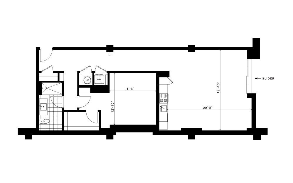The Freedom - 1 bedroom floorplan layout with 1 bath and 1050 square feet.