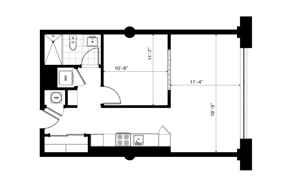 The Fourth Ward - 1 bedroom floorplan layout with 1 bath and 655 square feet. (2D)