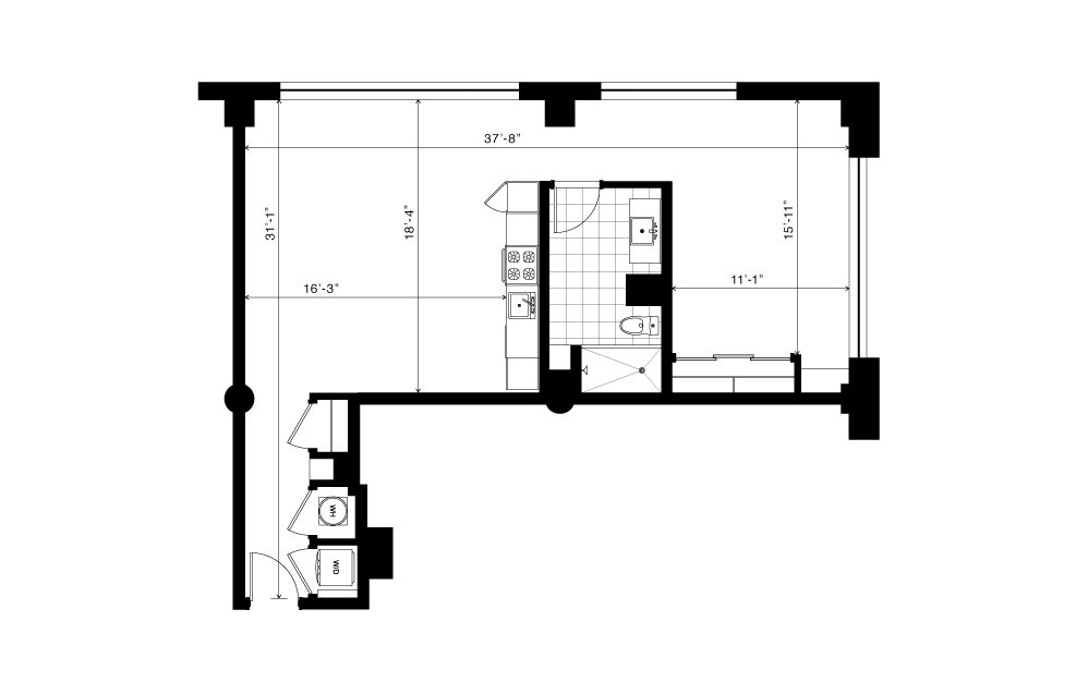 The Candler - 1 bedroom floorplan layout with 1 bath and 840 to 1030 square feet. (2D)