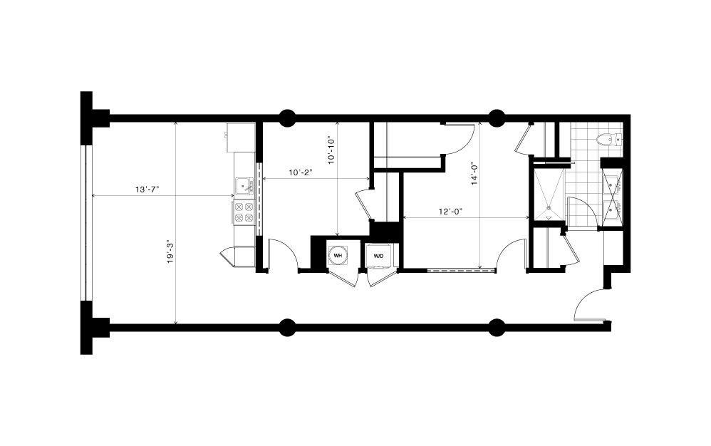 The Belt Line - 1 bedroom floorplan layout with 1 bath and 1020 to 1050 square feet. (2D)