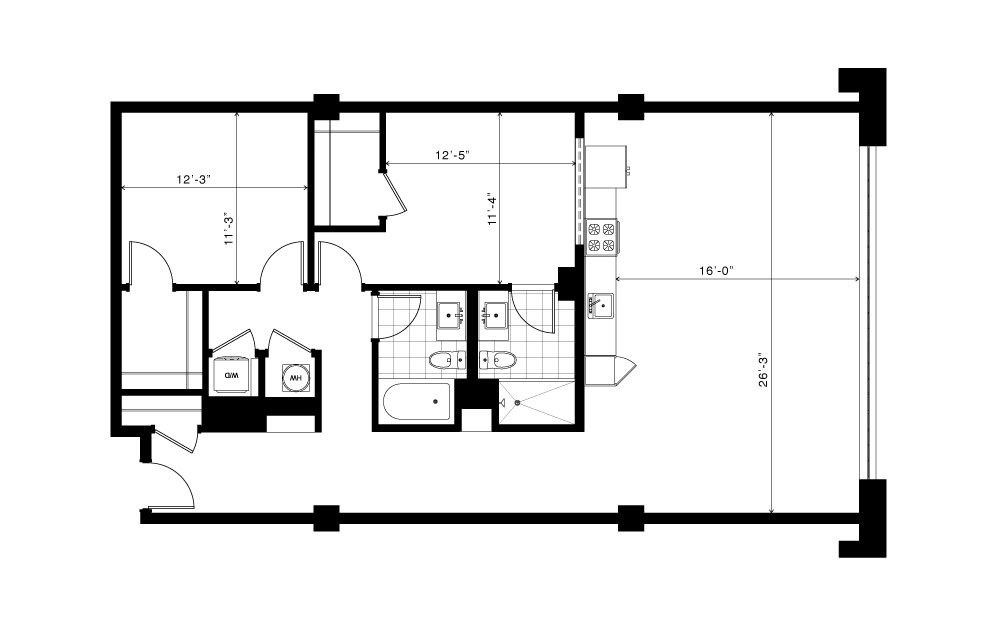 The Springvale - 2 bedroom floorplan layout with 2 baths and 1325 square feet.