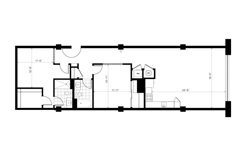 The Olmsted - 2 bedroom floorplan layout with 2 baths and 1360 square feet.