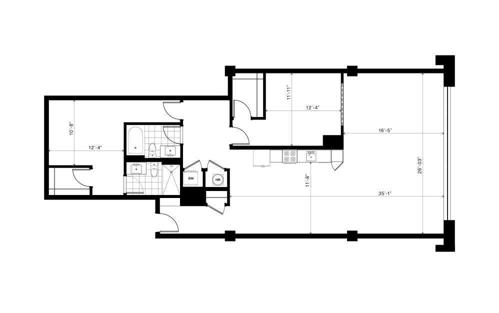 The Peachtree - 2 bedroom floorplan layout with 2 baths and 1520 square feet.