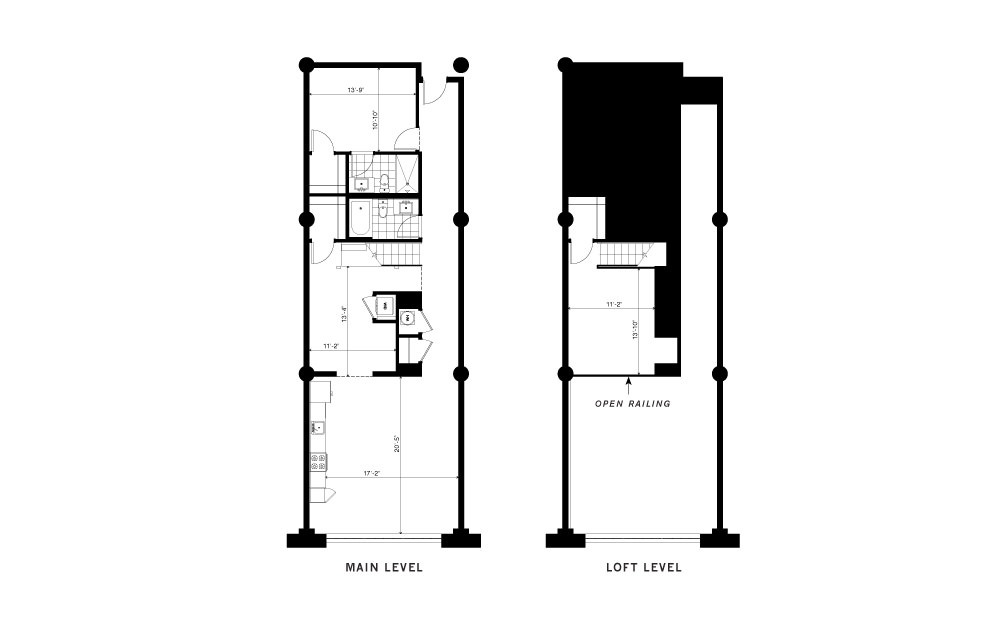 The Central - 2 bedroom floorplan layout with 2 baths and 1460 square feet. (2D)