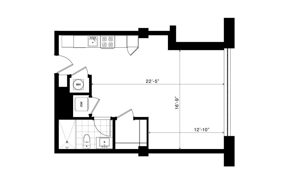 The Brookhaven - Studio floorplan layout with 1 bath and 560 square feet.