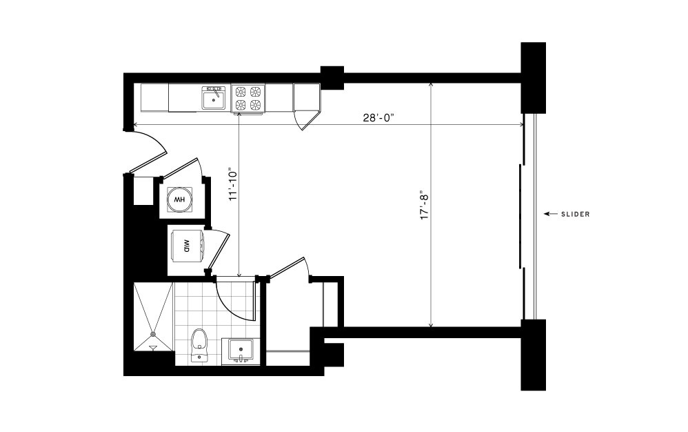 The Winn - Studio floorplan layout with 1 bath and 575 square feet.