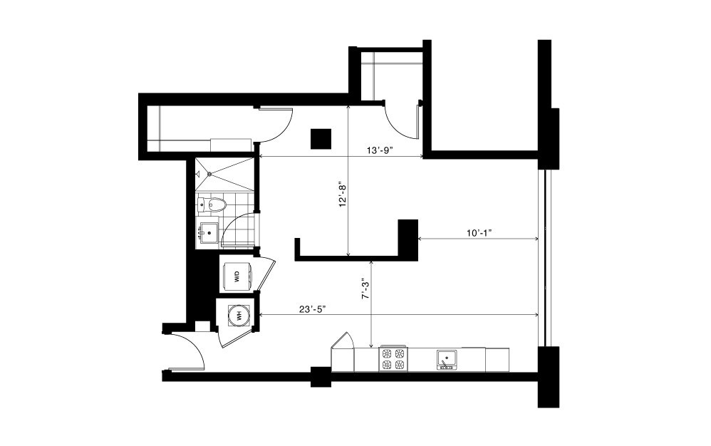 The Iris - Studio floorplan layout with 1 bath and 705 square feet. (2D)