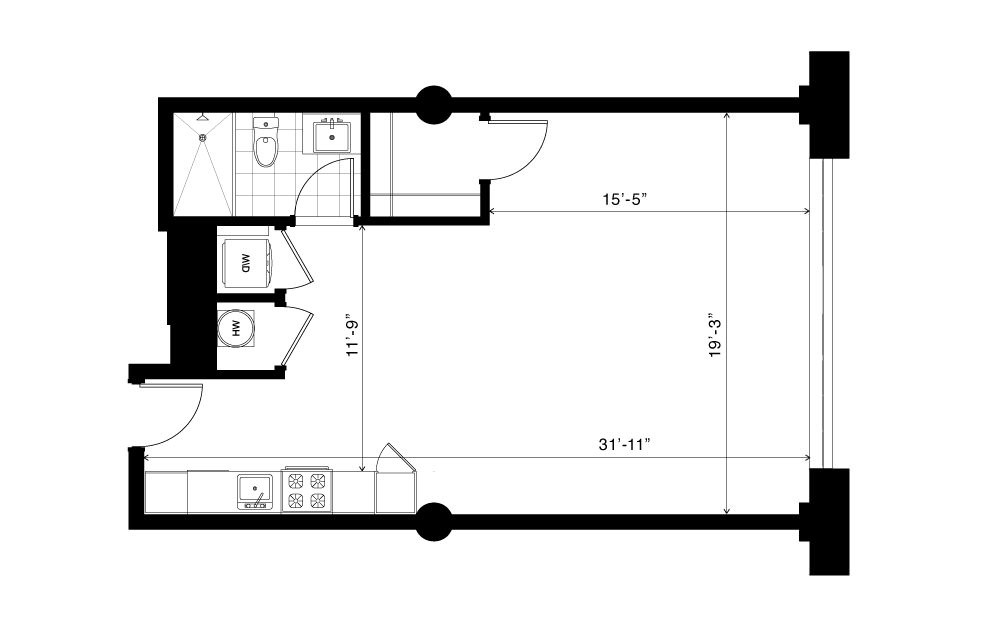The Dellwood - Studio floorplan layout with 1 bath and 630 square feet.
