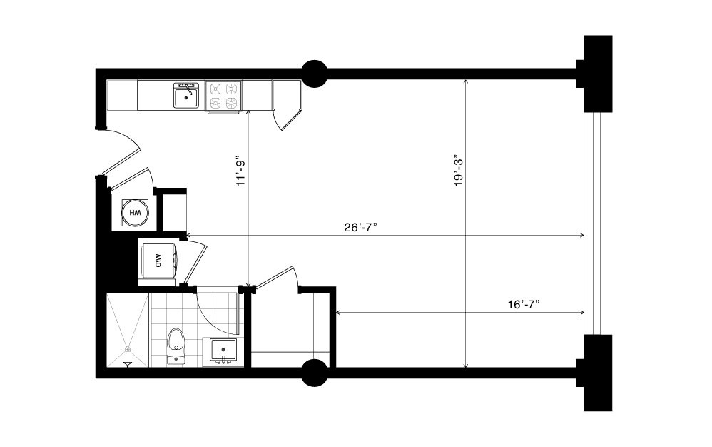 The Howell - Studio floorplan layout with 1 bath and 655 square feet.